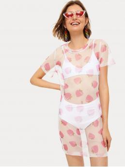 Sexy Fitted Fruit&Vegetable Straight Round Neck Short Sleeve Natural Multicolor Short Length Strawberry Print Mesh Dress