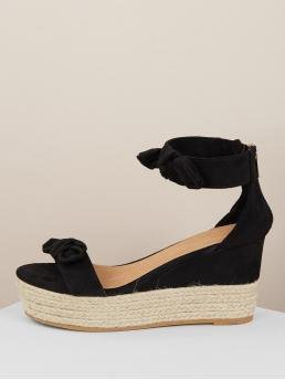 Boho Open Toe Platform Ankle Strap Black High Heel Espadrille Double Bow Accent Jute Wrapped Wedge Sandals