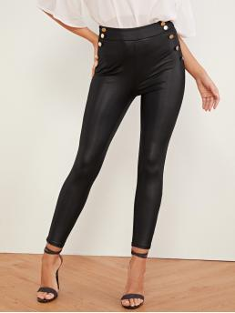Glamorous Plain Skinny Zipper Fly High Waist Black Long Length High Waist Double Button Pu Patent Skinny Pants