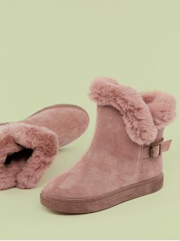 Comfort Other Almond Toe Plain No zipper Pink Low Heel Faux Fur Trimmed Cold Weather Boots