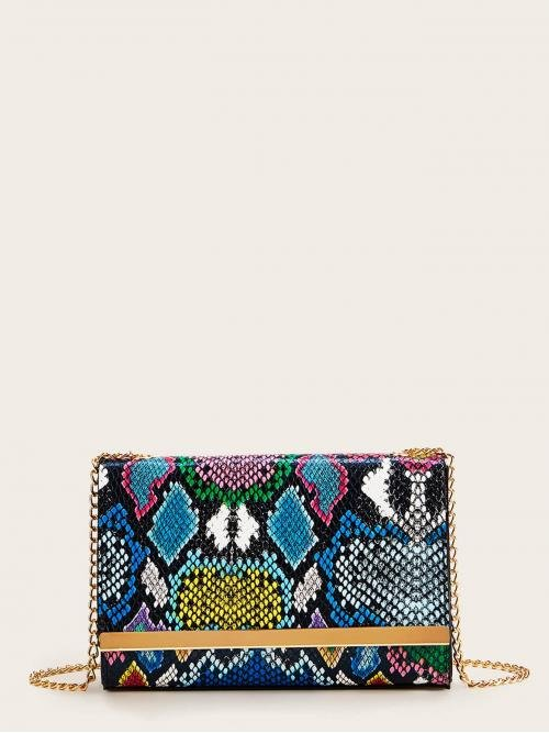 Casual Snakeskin Print Chain Multicolor Small Size Snakeskin Print Flap Chain Crossbody Bag