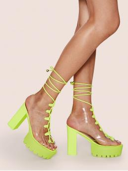 Glamorous Open Toe Plain Platform Green and Neon High Heel Chunky Neon Lime Lace-up Front Chunky Heels