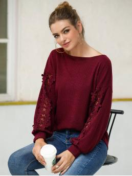 Casual Plain Regular Fit Boat Neck Long Sleeve Regular Sleeve Pullovers Burgundy Regular Length Floral Hollow Out Solid Sweater
