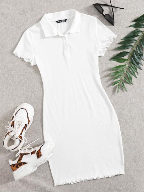White Plain Button Front Polo Lettuce Trim Half Button Placket Dress Clearance