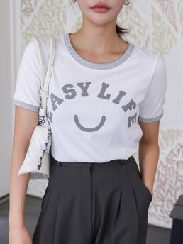 Short Sleeve Contrast Binding Cotton Letter Dazy Graphic Ringer Tee Fashion