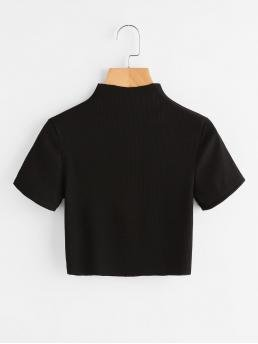 Casual Plain Slim Fit Stand Collar Short Sleeve Black Crop Length High Neck Ribbed Crop Tee