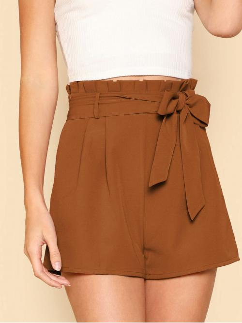 Sale Brown High Waist Belted Wide Leg Tie Front Pleated Waist Shorts