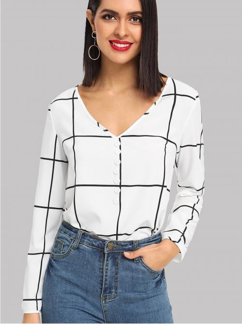 Womens Long Sleeve Top Button Plaid Front Grid Top