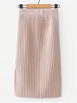 Pink Natural Waist Split Straight Slit Hem Rib Knit Trim Fashion