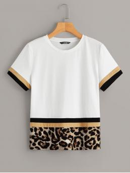 Casual Colorblock and Leopard Regular Fit Round Neck Short Sleeve Pullovers Multicolor Regular Length Color Block Leopard Print Tee