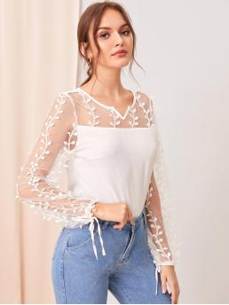 Elegant Plain Top Regular Fit Round Neck Long Sleeve Pullovers White Regular Length Sheer Embroidered Mesh Yoke Knotted Cuff Top