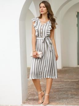 Casual Fitted Striped Regular Fit V neck Sleeveless High Waist Grey Midi Length Striped Button Front Ruffle Trim Belted Dress with Belt