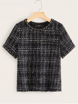 Elegant Plaid Top Regular Fit Round Neck Short Sleeve Regular Sleeve Pullovers Black Regular Length Frayed Edge Tweed Top