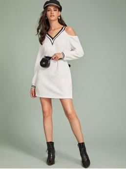 Casual Tee Striped Straight Loose V neck Long Sleeve Regular Sleeve Natural White Short Length Striped Trim Cold Shoulder Dress Without Bag