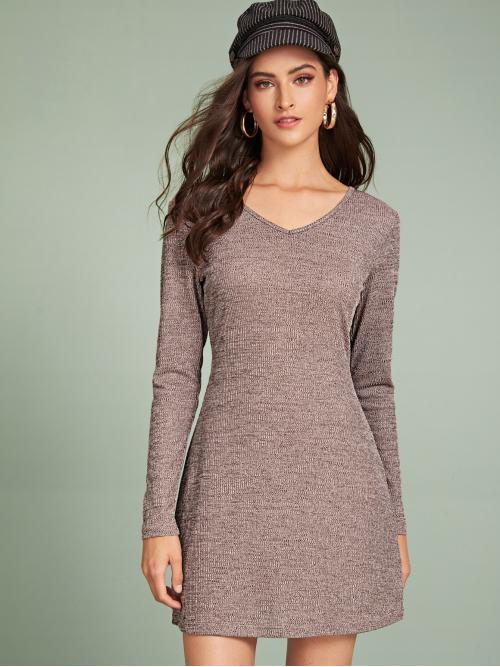 Casual Fitted Straight Regular Fit V neck Long Sleeve Regular Sleeve Brown Short Length V-Neck Space Dye Ribbed Dress