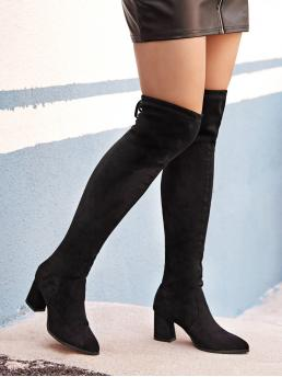 Glamorous Other Point Toe Plain No zipper Black High Heel Chunky Tie Back Chunky Boots