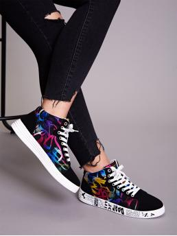 Comfort Round Toe Letter Multicolor Lace-up Front Letter Graphic Sole Sneakers