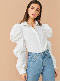 Elegant Plain Shirt Regular Fit Collar Long Sleeve Leg-of-mutton Sleeve Placket White Regular Length Gigot Sleeve Solid Blouse