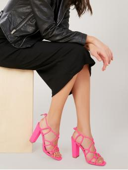 Glamorous Open Toe Plain Pink and Bright High Heel Chunky Square Sole Strappy Chunky Heel Sandals