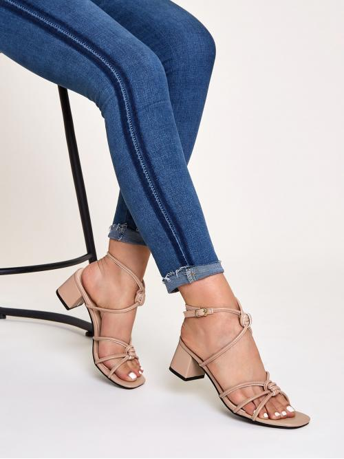 Business Casual Plain Ankle Strap Nude Mid Heel Chunky Knot Detail Open Toe Ankle Strap Chunky Heels