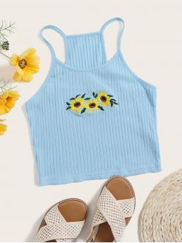 Boho Cami Floral Slim Fit Spaghetti Strap Baby Blue Crop Length Sunflower Embroidery Rib-knit Crop Cami Top