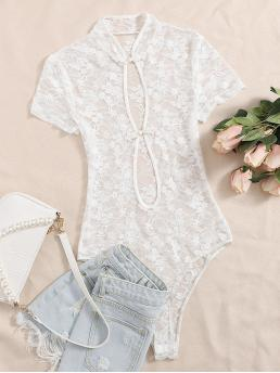 Womens Short Sleeve other Button Front Lace Frog Bodysuit