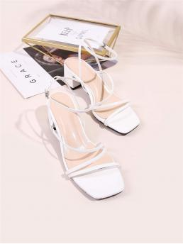 Women's White Strappy Sandals Mid Heel Chunky Faux Leather Strappy Open-toe Block Heels