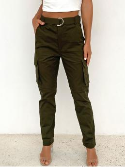 Army Green High Waist Zipper Cargo Pants Buckle Solid Cargo Pants on Sale
