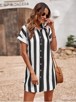 Cheap Black and White Striped Button Collar up Shirt Dress Without Belt