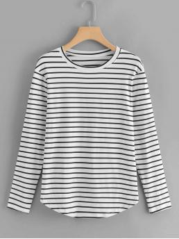 Casual Striped Regular Fit Round Neck Long Sleeve Black and White Elbow Patch Striped T-shirt