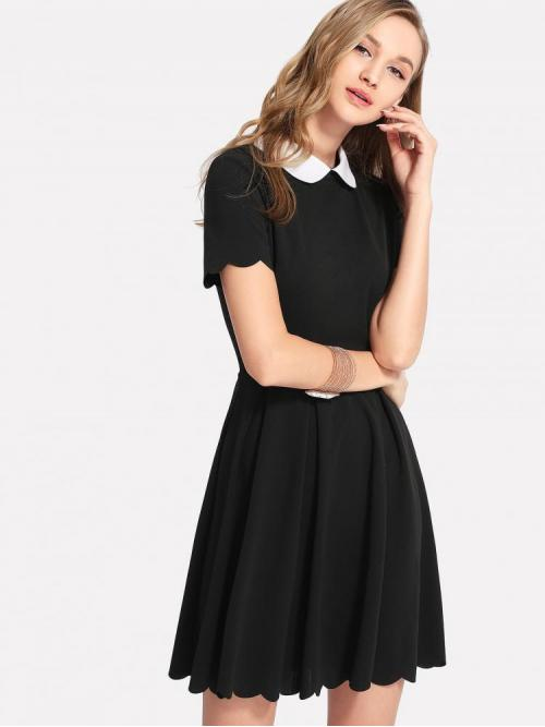 Clearance Black Striped Contrast Collar Peter Pan Collar Scalloped Edge Flare Dress