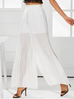 Boho Plain Wide Leg Loose Drawstring Waist and Elastic Waist Mid Waist White Long Length Shirred Waist Pleated Wide Leg Pants with Lining
