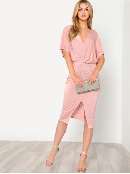 Glamorous Plain Regular Fit V neck Half Sleeve High Waist Pink and Pastel Midi Length Twist Front Kimono Dress