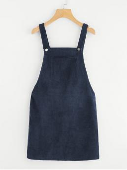 Preppy Pinafore Plain Loose Straps Sleeveless Natural Navy Short Length Pocket Front Overall Corduroy Dress