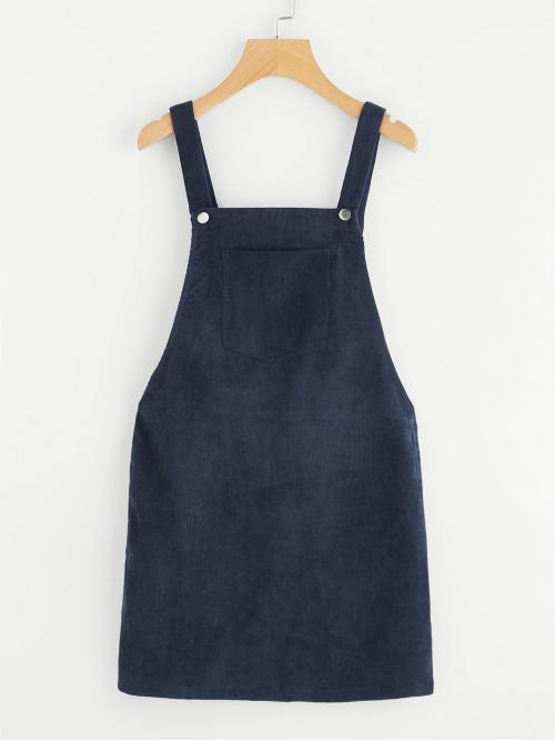 Navy Blue Plain Zipper Straps Pocket Front Overall Dress Cheap