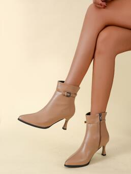 Sale Apricot Microfiber Leather Rubber Polyester Buckle Decor Heeled Ankle Boots