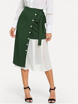 Green Natural Waist Popover a Line Chiffon Contrast Button Front Tie Waist Skirt Ladies