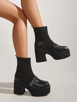 Black Cotton Blends Rubber Pu Leather Buckle Detail Panel Design Chunky Heeled Boots Clearance