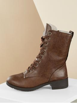 Casual Lace-up Boots Round Toe Plain Side zipper Brown Low Heel Chunky Lace Front Shearling Lined Low Heel Combat Boots
