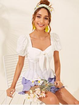 Casual Plain Flared Peplum Slim Fit Sweetheart Short Sleeve Pullovers White Regular Length Lace Insert Puff Sleeve Tie Front Peplum Top