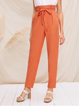 Casual Plain Tapered/Carrot Regular Elastic Waist High Waist Orange Long Length Paperbag Waist Self Belted Tapered Pants with Belt