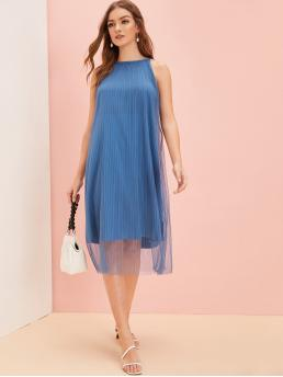 Elegant Cami Plain Pleated Loose Halter Sleeveless Natural Blue Long Length Mesh Overlay Plisse Solid Dress with Lining