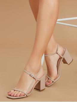 Business Casual Open Toe Plain Nude High Heel Chunky Open Square Toe Buckled Ankle Low Block Heels