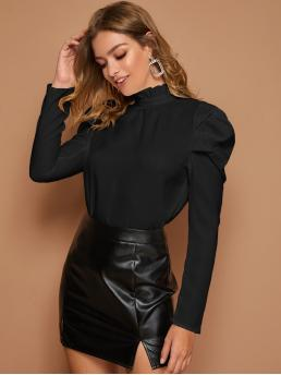 Elegant Plain Top Regular Fit Stand Collar Long Sleeve Leg-of-mutton Sleeve Pullovers Black Regular Length Frilled Neck Gigot Sleeve Top