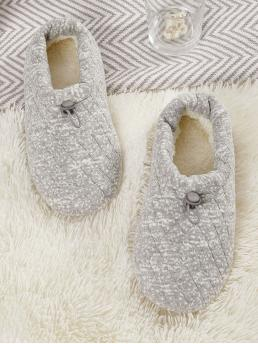 Comfort Slippers Round Toe Grey Faux Fur Lined Wide Fit Slippers