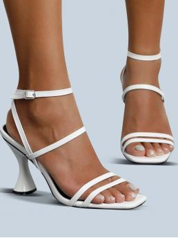 Ladies White Strappy Sandals Ultra High Heel Sculptural Heels Spool Heeled Sandals