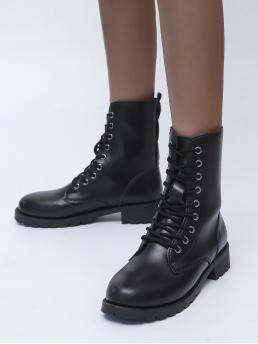 Ladies Black Low Heel Pu Leather Rubber Minimalist Lace up Front Combat Boots