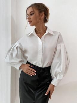 Womens Long Sleeve Shirt Button Front Polyester Solid Blouson Sleeve Button through Blouse