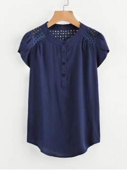 Casual Plain Top Regular Fit Stand Collar Cap Sleeve Navy Eyelet Embroidered Panel Petal Sleeve Blouse