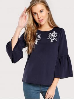 Casual Top Regular Fit Round Neck Long Sleeve Flounce Sleeve Pullovers Navy Regular Length Flower Embroidered Trumpet Sleeve Top